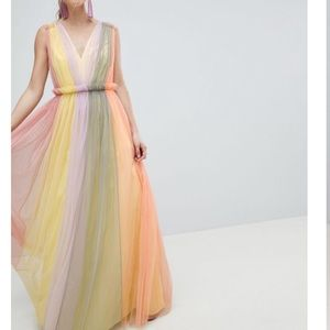 ASOS tulle maxi dress in pastel color block